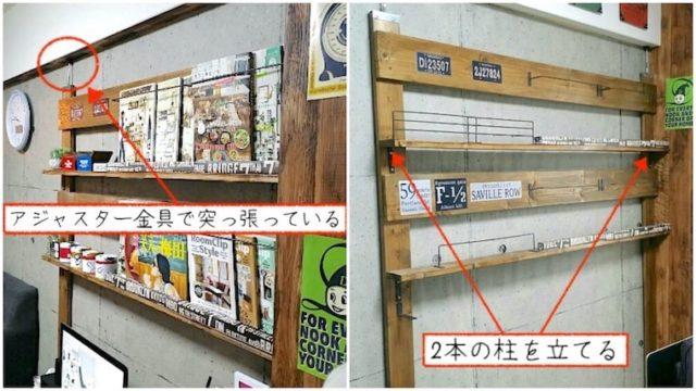 ディアウォールよりも安く賃貸で棚や本棚が作れるアジャスター金具でDIYした記事のアイキャッチ画像
