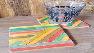 100均材料で作ったヘリンボーン柄のコースター