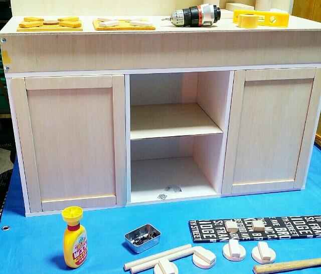 カラーボックスでままごとキッチン作り
