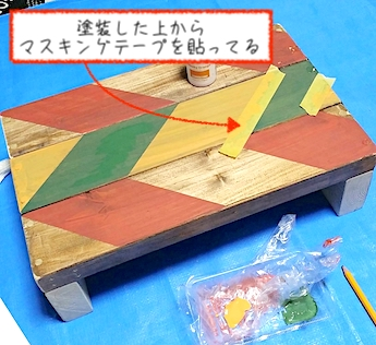マスキングテープを貼って塗装する