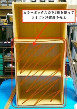 ままごと冷蔵庫をカラーボックスで作る方法