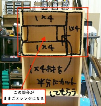 カラーボックスの上の段でままごとレンジを作る方法