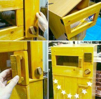カラーボックスで作るままごとレンジのDIYの完成品