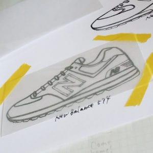 プラバンに型紙を写す時はマスキングテープで固定する