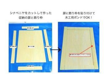 ままごとキッチンの枠付き扉の作り方