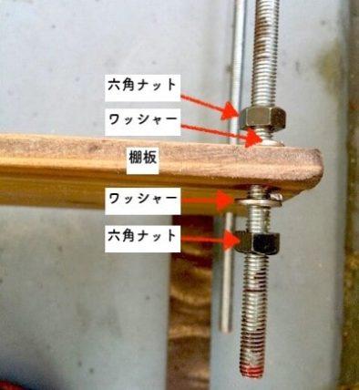 ボルトで作る収納ラックの棚板の固定方法