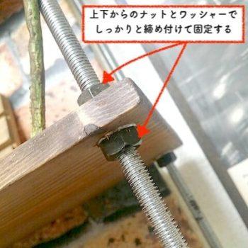 ボルトの収納ラックでナットとワッシャーで締めて棚板を固定する