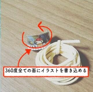 プラバン指輪のデザインは360度全部にイラストが書ける