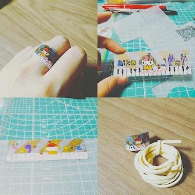 手作りしたプラバン指輪