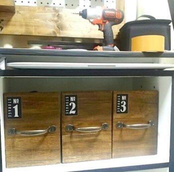 100均の収納ボックスを木材でカフェ風にリメイクするDIYの完成品